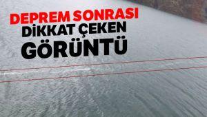 Deprem sonrası yüzey kırığının suda oluşturduğu görüntü dikkat çekti