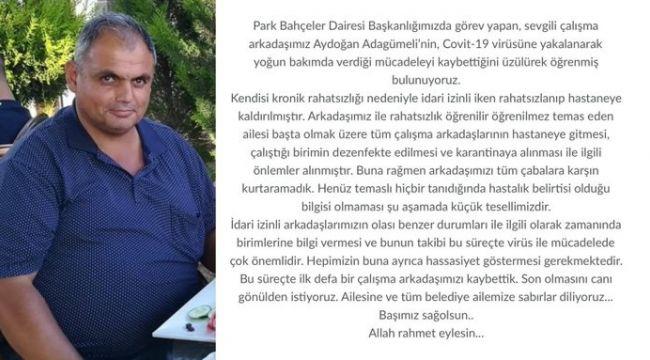 İzmir Büyükşehir Belediyesi'nin acı kaybı