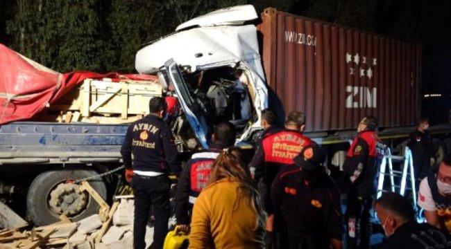 Mermer yüklü TIR'a arkadan çarpan TIR'ın şoförü öldü