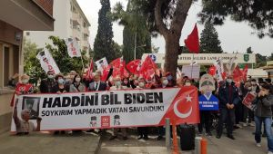 İzmir'deki NATO karargahı önünde Biden'i protesto